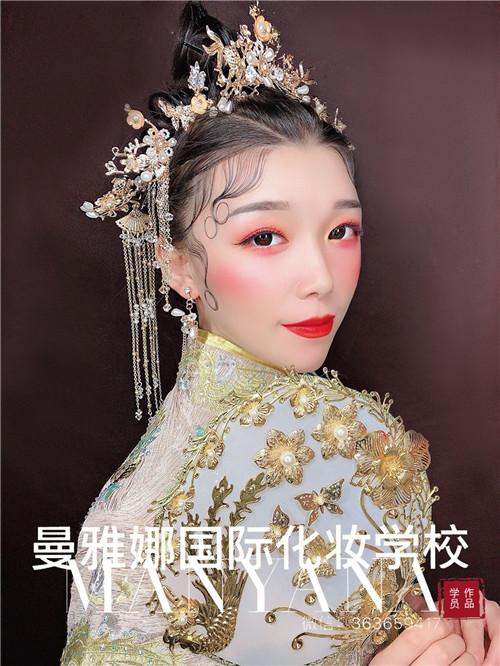 青岛美妆培训学校哪家好?中式新娘跟妆作品