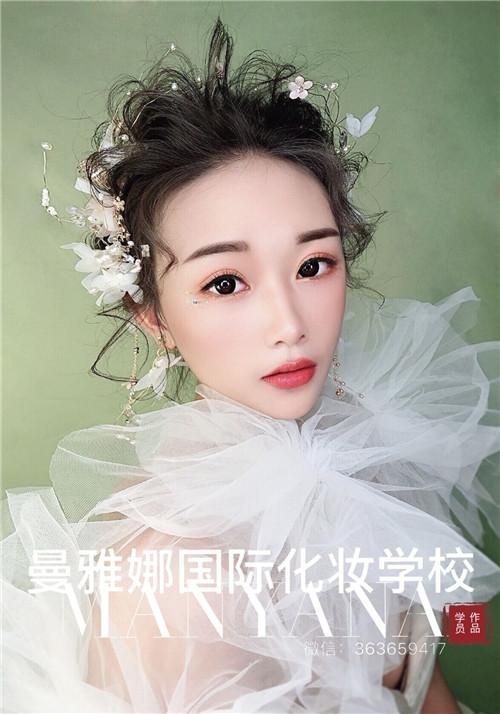 青岛美妆培训学校,森系白纱新娘跟妆造型